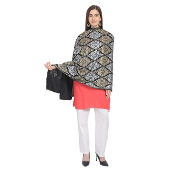 Black Gold & Silver Woolen Ethnic Embroidered Shawl