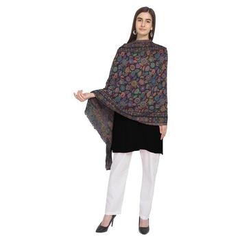 Black & Multi Woolen Woven Floral Shawl