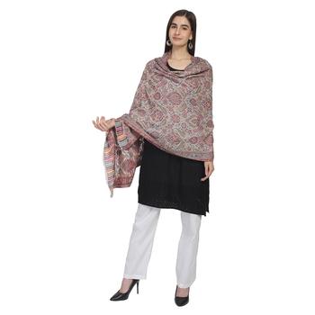 White & Multi Woolen Woven Paisley Shawl
