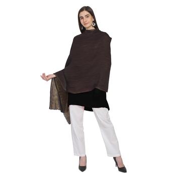 Dark Brown & Gold Woolen Woven Zari Reversible Shawl