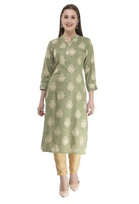 light green womens rayon straight kurta KD18C