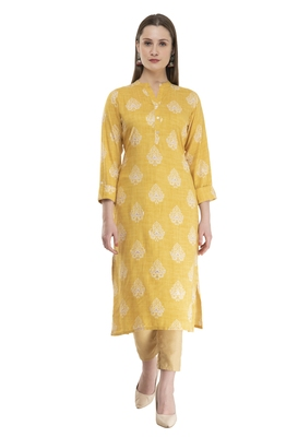 yellow womens rayon straight kurta KD18D