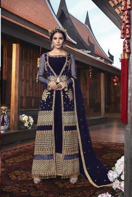 Royal-blue embroidered net salwar