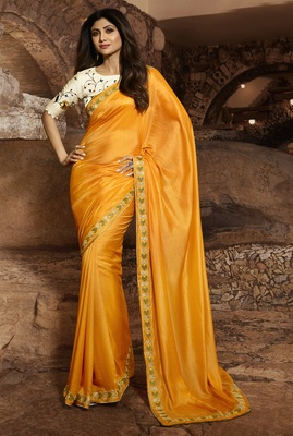 YELLOW EMBROIDERED FANCY FABRIC BOLLYWOOD SAREE WITH BLOUSE