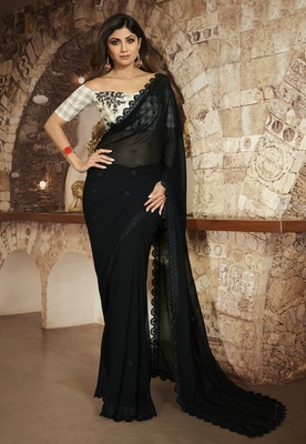 Black Embroidered Fancy Fabric Bollywood Saree With Blouse