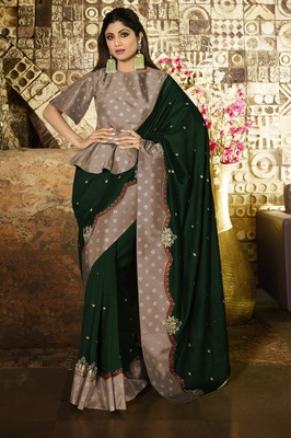 GREEN EMBROIDERED FANCY FABRIC BOLLYWOOD SAREE WITH BLOUSE