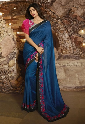 BLUE EMBROIDERED FANCY FABRIC BOLLYWOOD SAREE WITH BLOUSE