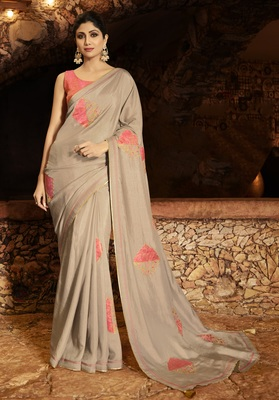 LIGHT-BROWN EMBROIDERED FANCY FABRIC BOLLYWOOD SAREE WITH BLOUSE