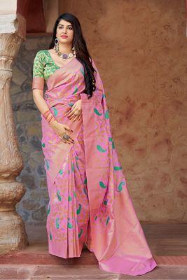 Light baby pink woven banarasi silk saree with blouse