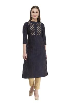 navy blue Women Embroidered cotton silk kurta LG300A