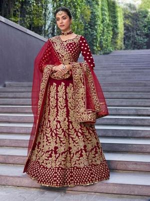 Dark-red embroidered velvet semi stitched lehenga