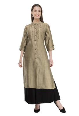 gold Womens Embroidered polly silk LG301