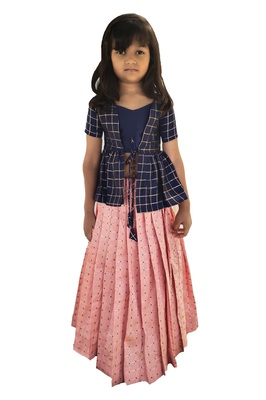 Kids Blue Top And Pink Lehenga Choli