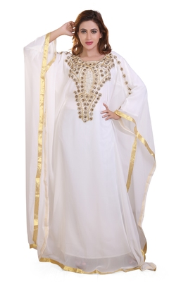 white moroccan islamic dubai kaftan farasha zari and stone work dress