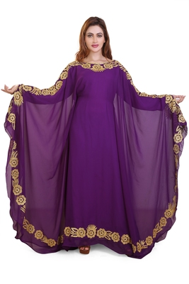 purple moroccan islamic dubai kaftan farasha aari and stone work dress