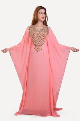 peach moroccan islamic dubai kaftan farasha zari and stone work dress
