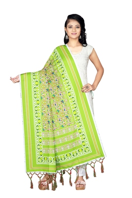 green PATOLA PRINTED RETON COTTON DUPATTA