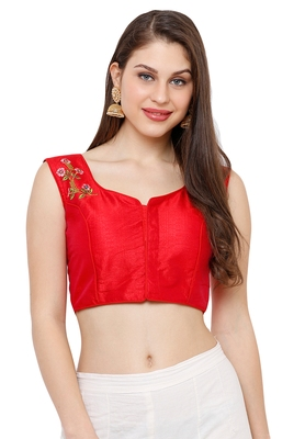 Women's Red Casual Embroidery Readymade Saree Blouse