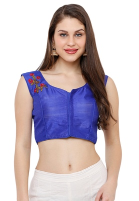 Women's Blue Casual Embroidery Readymade Saree Blouse
