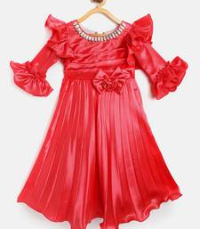 Red Embroidered Satin Kids Skirts