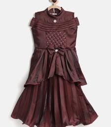 Maroon Embroidered Satin Kids-Skirts