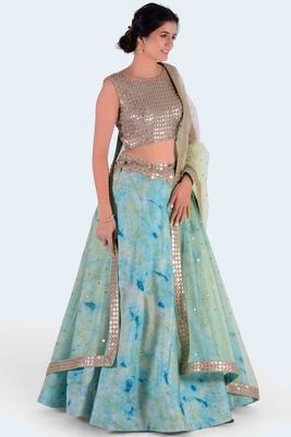green printed art silk unstitched lehenga choli