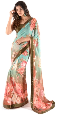 Women's multicolor Chiffon Floral Print saree with blouse