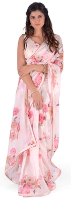 Women's Cream Georgette Floral Print saree with blouse