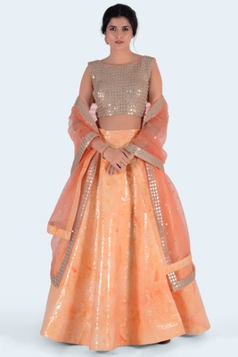 orange printed art silk unstitched lehenga choli