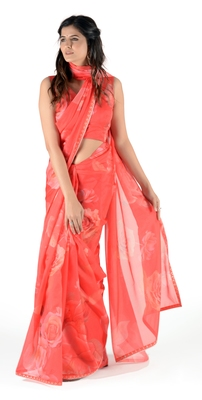 Women'S Red Georgette Floral Print Saree With Blouse