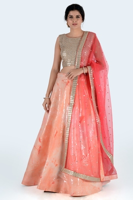 peach printed art silk unstitched lehenga choli