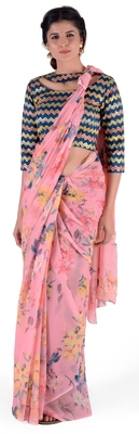 Women's Pink Chiffon Floral Print saree with blouse