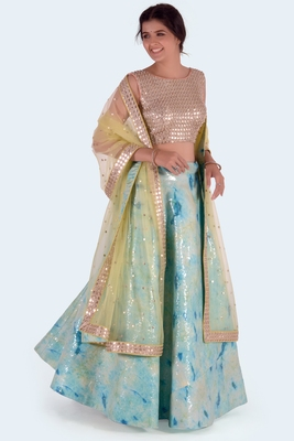 green printed art silk unstitched lehenga choli