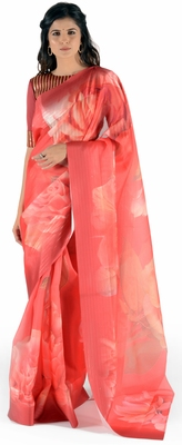Women's Red Chanderi Chex Floral Print saree with blouse