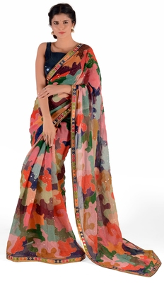 Women's multicolor Georgette Cocktail Print saree with blouse