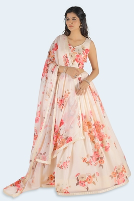 pink printed art silk unstitched lehenga choli
