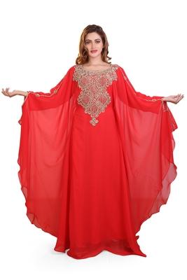 red embroidered georgette islamic kaftan ramadan karem dress
