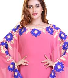 baby pink embroidered georgette islamic kaftan ramadan karem dress