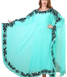 sea greeen moroccan islamic dubai kaftan farasha zari and stone work dress