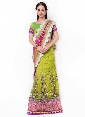 Green embroidered faux net saree with blouse