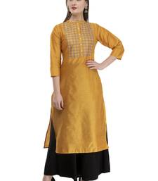 mustard Womens Embroidered polly silk RK2162A