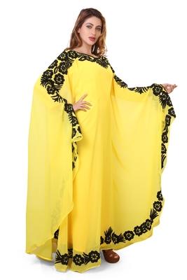yellow moroccan islamic dubai kaftan farasha aari and stone work dress