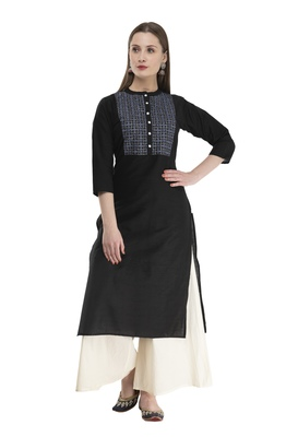 black Womens Embroidered polly silk RK2162B