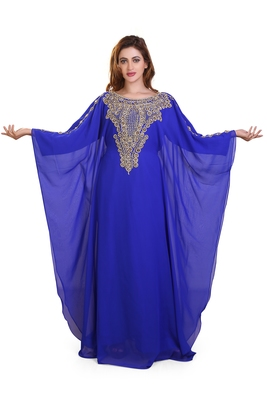 royal blue moroccan islamic dubai kaftan farasha zari and stone work dress