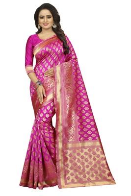 Rani Pink Rapier jacquard Silk Designer Saree With Blouse