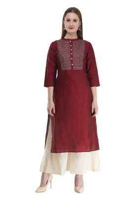 maroon Womens Embroidered polly silk RK2162D