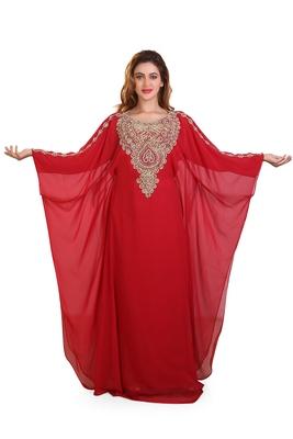 red embroidered georgette islamic kaftan ramadan karem caftan