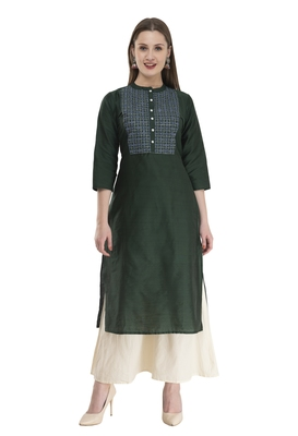 bottle green Womens Embroidered polly silk RK2162E