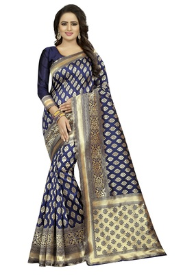 Navy Blue Rapier jacquard Silk Designer Saree With Blouse
