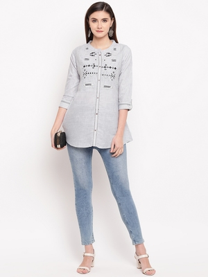 Grey Embroidery With Print  A-line Short kurti